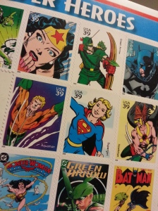 DC Super Hero stamps left over after a postage increase...